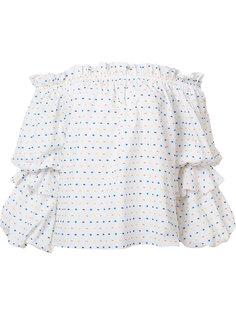 блузка в горох с открытыми плечами Caroline Constas