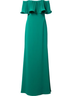 длинное платье с открытыми плечами Badgley Mischka