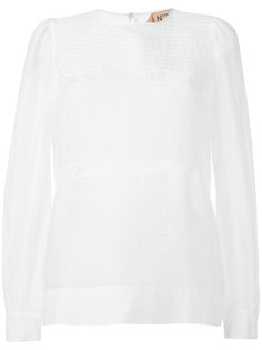 прозрачная блузка с круглым вырезом Nº21