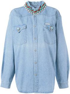 джинсовая рубашка с декорированным воротником Forte Couture