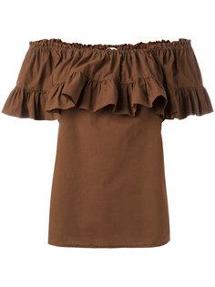блузка со сборками и открытыми плечами Hache