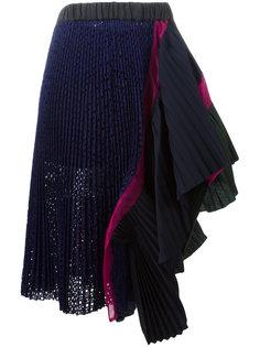 асимметричная юбка с оборками Sacai