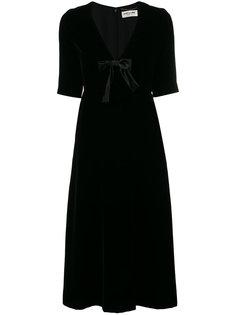 бархатное платье миди Saint Laurent