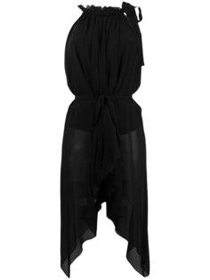 блузка со сборками у горловины и поясом Alberta Ferretti