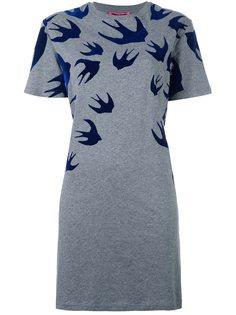 патье-футболка с принтом ласточек  McQ Alexander McQueen
