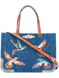 сумка-тоут с вышивкой птиц Red Valentino