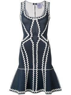 zig-zag print flared dress Hervé Léger