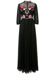 длинное платье с цветочной вышивкой Temperley London
