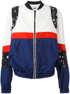 куртка-бомбер с кружевными вставками MSGM