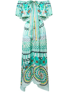multi-print off-shoulders dress Temperley London