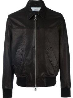 кожаная куртка на молнии Ami Alexandre Mattiussi