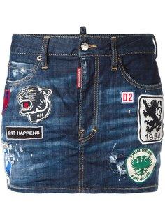 джинсовая мини юбка с нашивками Dsquared2