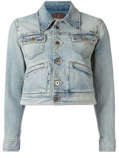 джинсовая куртка с принтом на спине Roberto Cavalli