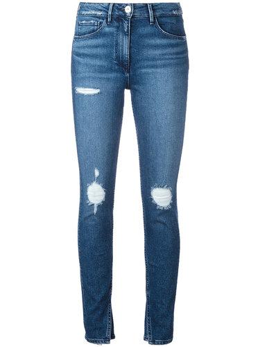 укороченные джинсы с разрезами на щиколотках 3X1