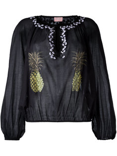 блузка без воротника с изображением ананасов Giamba