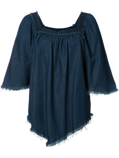 fringed denim blouse  NSF