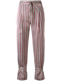укороченные брюки в полоску Jil Sander Navy