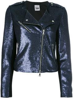 байкерская куртка с отделкой пайетками Twin-Set
