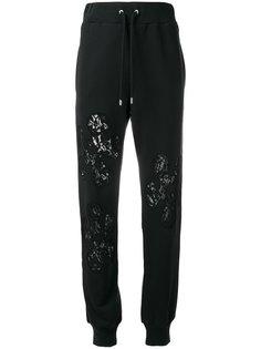спортивные брюки с кружевными вставками Moschino