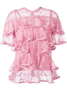 кружевная блузка с оборками Elie Saab
