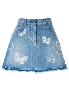джинсовая юбка с аппликацией  Valentino