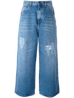 укороченные джинсы с потертой отделкой J.W.Anderson