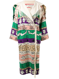 oversized patterned fringe coat Jc De Castelbajac Vintage