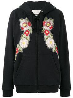 Fake Gucci rose embroidered hoodie Gucci