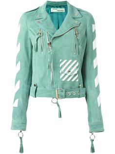байкерская куртка с принтом в полоску Off-White