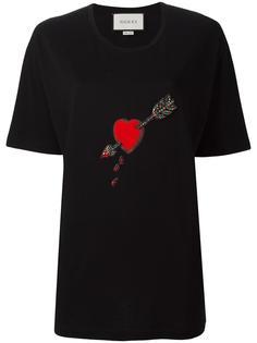 декорированная футболка с принтом сердца Gucci