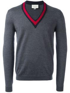 свитер с контрастной отделкой Web Gucci