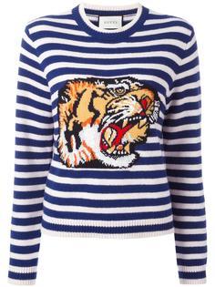 полосатый свитер с тигром Gucci