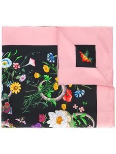 шарф с принтом змей и цветов Gucci