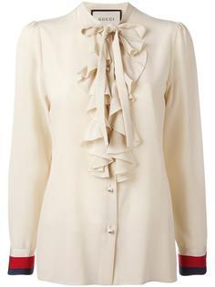 блузка с рюшами и бантом Gucci