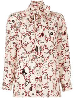 блузка с завязкой на бант  Gucci