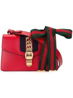 сумка на плечо с полосатым бантом Gucci