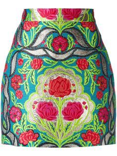парчовая мини-юбка с цветочным узором Gucci
