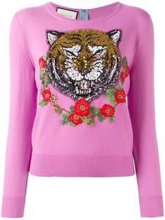 кашемировый джемпер с вышивкой тигра Gucci