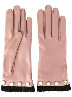 перчатки с жемчужными деталями Gucci