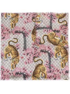 шарф с принтом тигров Gucci