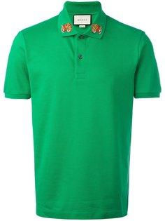 футболка-поло с принтом леопардов на воротнике Gucci