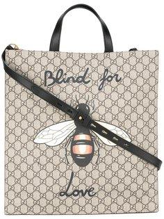 сумка-тоут soft GG Supreme с принтом пчел  Gucci