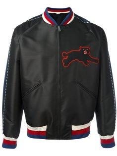 атласная куртка с вышивкой пантеры  Gucci