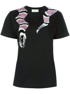 футболка с принтом змеи из пайеток  Gucci