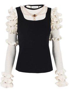 свитер с оборками на рукавах Gucci