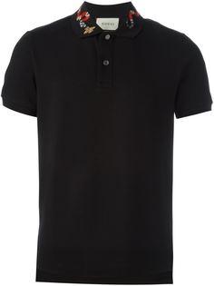 футболка-поло с вышивкой на воротнике  Gucci