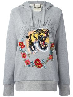 толстовка с капюшоном и вышивкой тигра Gucci