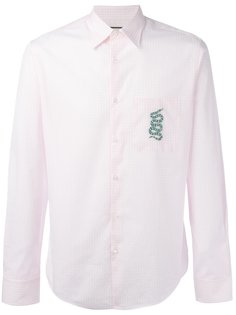 """рубашка с вышивкой змеи в клетку """"гингем"""" Gucci"""