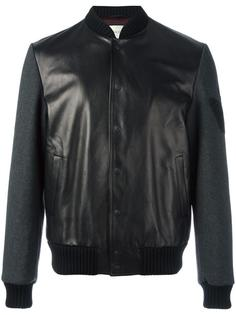 кожаная куртка-бомбер с вышитой бабочкой Gucci