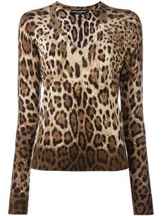 джемпер с леопардовым принтом Dolce & Gabbana